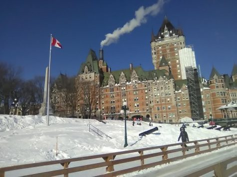 Boardwalk view of the Chateau Frontenac.