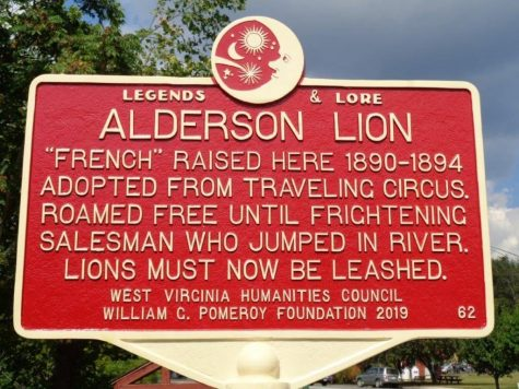 Alderson city sign telling French