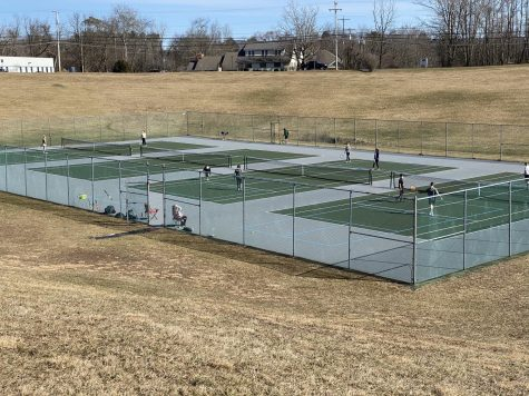Preseason tennis practice.