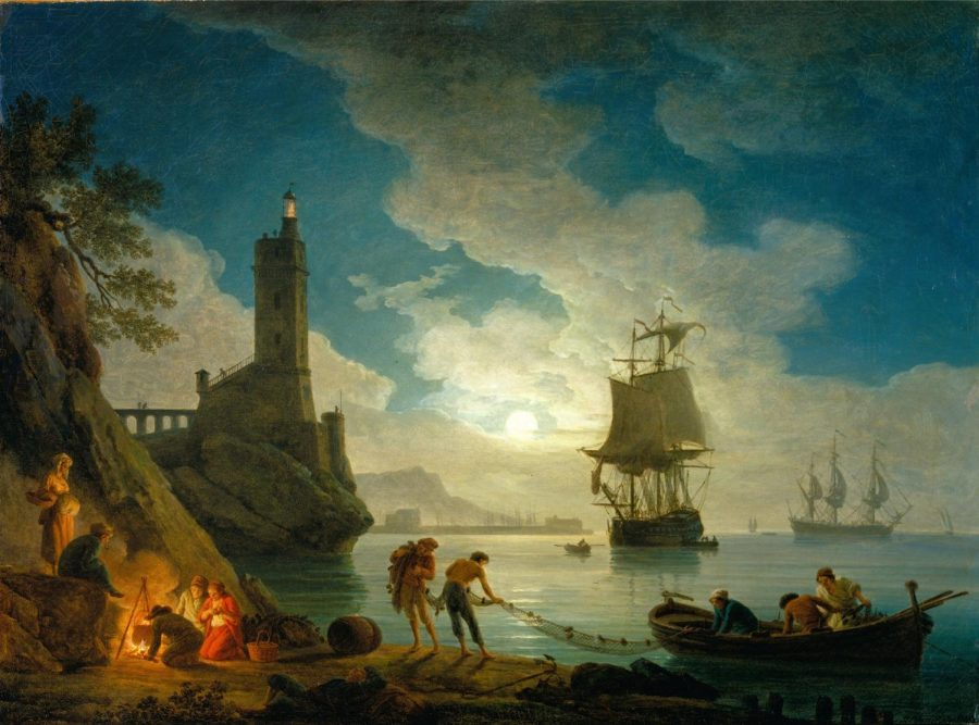 A Harbor in Moonlight (oil by Joseph Vernet)